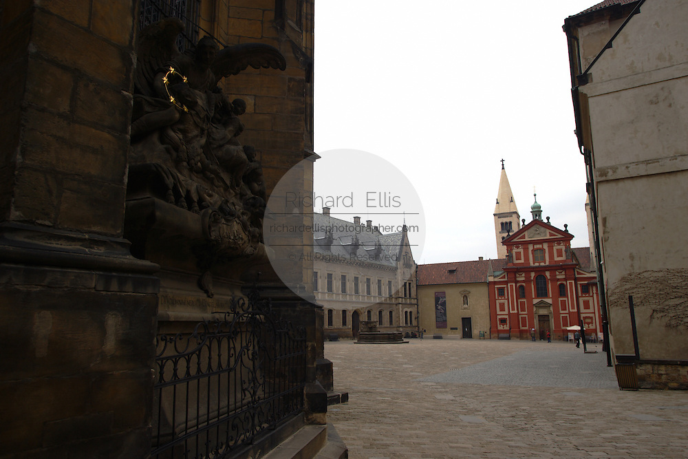 View of St. George's Convent from St. Vitus's Cathedral in Prague Castle, Prague, Czech Republic. The castle, first constructed in the 10th century is the seat of government in the Czech Republic.
