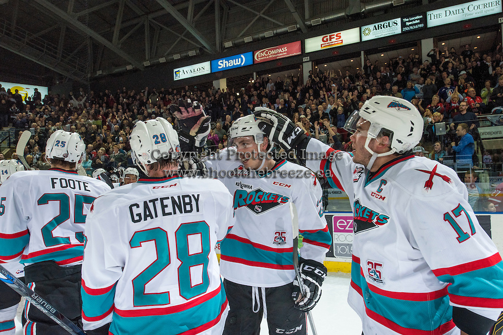 KELOWNA, CANADA - APRIL 4: Cal Foote #25, Justin Kirkland #23, Joe Gatenby #28 and Rodney Southam #17 of Kelowna Rockets celebrate the first round playoff win in game 7 against the Kamloops Blazers on April 4, 2016 at Prospera Place in Kelowna, British Columbia, Canada.  (Photo by Marissa Baecker/Shoot the Breeze)  *** Local Caption *** Joe Gatenby; Cal Foote; Rodney Southam; Justin Kirkland;