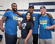 Los Angeles Rams tight end Romello Brooker (left), receiver Jalen Greene (center) and  guard Chandler Brewer pose during community improvement project at Belvedere Elementary School to upgrade play and social spaces around the school by building a new playground structure, painting murals and basketball backboards and landscaping., Friday, June 14, 2019, in Los Angeles, Calif. (Ed Ruvalcaba/Image of Sport)