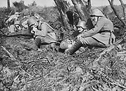 World War I 1914-1918:   German field telephone unit on the Somme, France, 1916. Warfare Communication