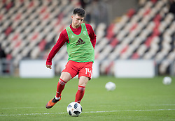 NEWPORT, WALES - Tuesday, October 16, 2018: Wales' Alex Babos warms up ahead of the UEFA Under-21 Championship Italy 2019 Qualifying Group B match between Wales and Switzerland at Rodney Parade. (Pic by Laura Malkin/Propaganda)