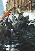 Russian Revolution, October 1917. The storming of the Winter Palace, St Petersburg (Petrograd/Leningrad).