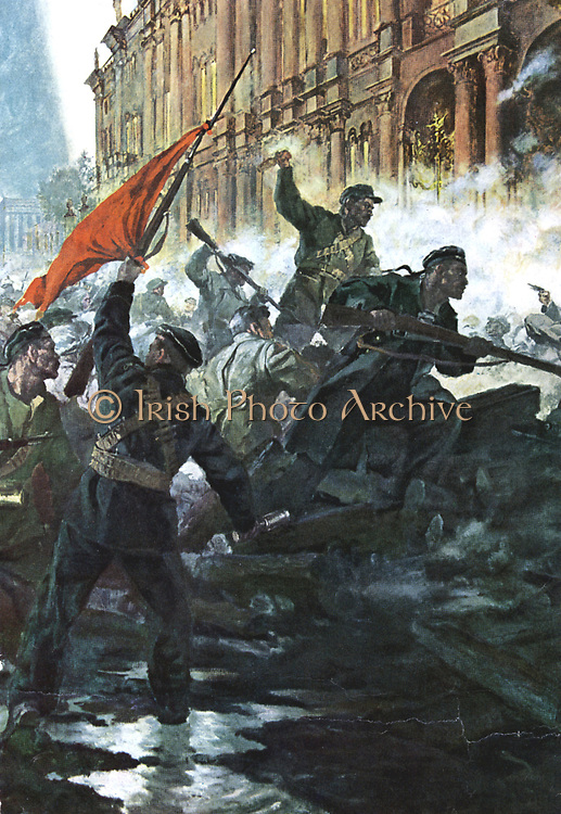Russian Revolution, October 1917. The storming of the Winter Palace, St Petersburg (Petrograd/Leningrad).