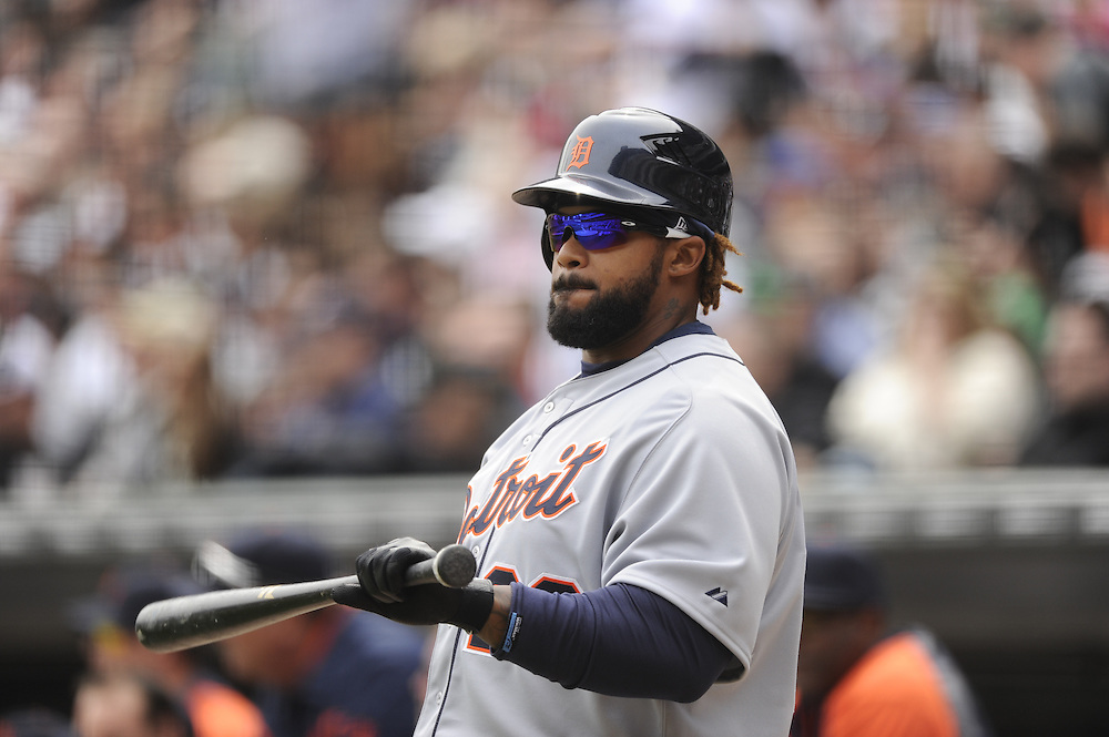 CHICAGO - APRIL 13:  Prince Fielder #28 of the Detroit Tigers looks on against the Chicago White Sox on April 13, 2012 bats U.S. Cellular Field in Chicago, Illinois.  The White Sox defeated the Tigers 5-2.  (Photo by Ron Vesely)   Subject:  Prince Fielder