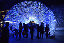 Tunnel of light, Christmas decorations Norwich December 2016 UK
