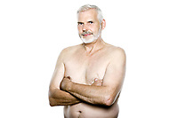 caucasian man portrait topless isolated studio on white background