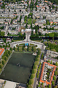 Nederland, Amsterdam, stadsdeel Zuid 25-05-2010. Olympiaplein met sportvelden gezien naar Valeriusplein, water van de Pieter Lastmankade en Jan van Goyenkade met Het Amsterdams Lyceum..Playing grounds in the southern part of the city.luchtfoto (toeslag), aerial photo (additional fee required).foto/photo Siebe Swart