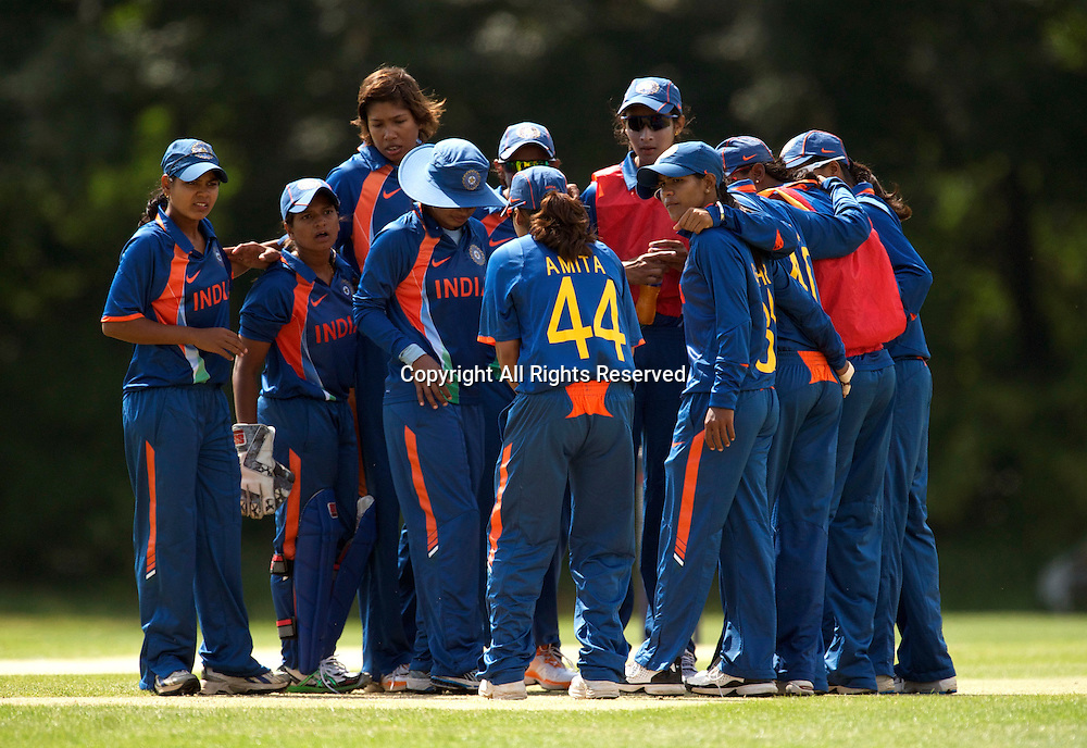 5.7.11 Southgate, England. India Women celebrate a wicket taken by GouharSultana during the India Women vs White Ferns NatWest Womens Quadrangular Series Women's One-Day Match at The Walker Cricket Ground, Southgate.