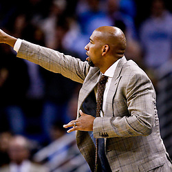 October 29, 2010; New Orleans, LA, USA; New Orleans Hornets head coach Monty Williams reacts during the fourth quarter against the Denver Nuggets at the New Orleans Arena. The Hornets defeated the Nuggets 101-95.  Mandatory Credit: Derick E. Hingle