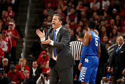 Kentucky head coach John Calipari cheers on his team in the first half. <br /> <br /> The University of Louisville hosted the University of Kentucky, Saturday, Dec. 27, 2014 at Yum Center in Louisville. <br /> <br /> Photo by Jonathan Palmer