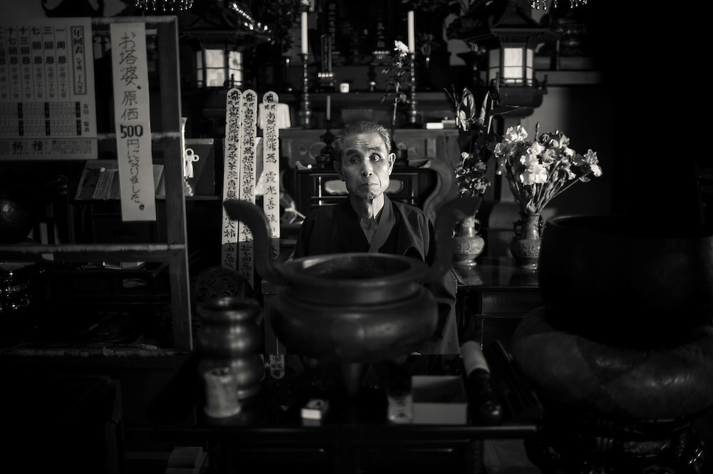 Tokuo Hayakawa   Anti Nuclear Monk at his family temple. in  Naraha Japan