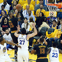 12 June 2017: Cleveland Cavaliers forward LeBron James (23) goes for the dunk during the Golden State Warriors 129-120 victory over the Cleveland Cavaliers, in game 5 of the 2017 NBA Finals, at the Oracle Arena, Oakland, California, USA.