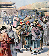 First Sino-Japanese War 1894-1895: Unrest in Seoul.  Japan invaded Korea on the pretext of saving the country from China. Entered Seoul on 23 July and seized Korean Emperor. From 'Le Petit Journal', 13 August 1894.