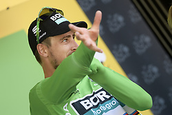 July 15, 2018 - Amiens Metropole, FRANCE - Slovak Peter Sagan of Bora-Hansgrohe celebrates in the green jersey of leader in the sprint ranking after the eighth stage of the 105th edition of the Tour de France cycling race, from Arras Citadelle to Roubaix (156,5 km), in France, Sunday 15 July 2018. This year's Tour de France takes place from July 7th to July 29th. BELGA PHOTO YORICK JANSENS (Credit Image: © Yorick Jansens/Belga via ZUMA Press)