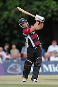 Jim Allenby batting during the NatWest T20 Blast South Group match between Middlesex County Cricket Club and Somerset County Cricket Club at Uxbridge Cricket Ground, Uxbridge, United Kingdom on 26 June 2015. Photo by David Vokes.