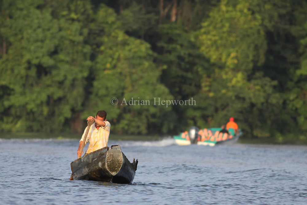 Tourist boat passes villager in canoe on natural rainforest canal. Tortuguero National Park. Costa Rica. <br />