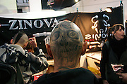 Skull tattooed on the back of the head of one visitor at the 2nd International Tattoo Convention in London on Saturday, Oct. 7, 2006, in London, UK. With over 15.000 visitors in three days during the 2005 edition, the event placed London in a central position in the tattoo world.  This year about 150 artists ,representing all the tattoo styles, are ticking away with their machines in a very exciting atmosphere. **ITALY OUT**....