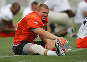 BEREA, OH - AUGUST 3:  Quarterback Charlie Frye #9 of the Cleveland Browns stretches during training camp at the Cleveland Browns Training and Administrative Complex on August 3, 2006 in Berea, Ohio. ©Paul Anthony Spinelli *** Local Caption *** Charlie Frye