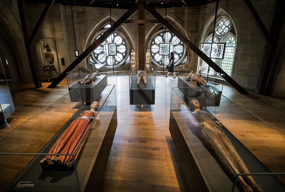 © Licensed to London News Pictures. 29/05/2018. London, UK. Funeral effigies including (front L-R) Catherine de Valois, wife of King Henry V, from 1437 and King Edward III, 1377, are laid out in the new Queen's Diamond Jubilee Galleries of Westminster Abbey - now open to the public for the first time. The recently finished galleries situated in 13th century triforium, 52 feet above the abbey floor, will display treasures not seen by the public before and tell the story of abbey's thousand-year history. Photo credit: Peter Macdiarmid/LNP