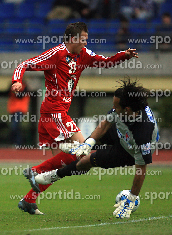 Josip Ilicic  of Interblock vs goalkeeper of Primorje Dejan Milic at 29th Round of Slovenian First League football match between NK Interblock and NK Primorje at ZAK Stadium, on April 20, 2009, in Ljubljana, Slovenia. (Photo by Vid Ponikvar / Sportida)