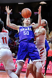NORMAL, IL - January 06: Sara Rhine looses possession on a shot while doubled on by Te Te Maggett and Lexi Wallen during a college women's basketball game between the ISU Redbirds and the Drake Bulldogs on January 06 2019 at Redbird Arena in Normal, IL. (Photo by Alan Look)