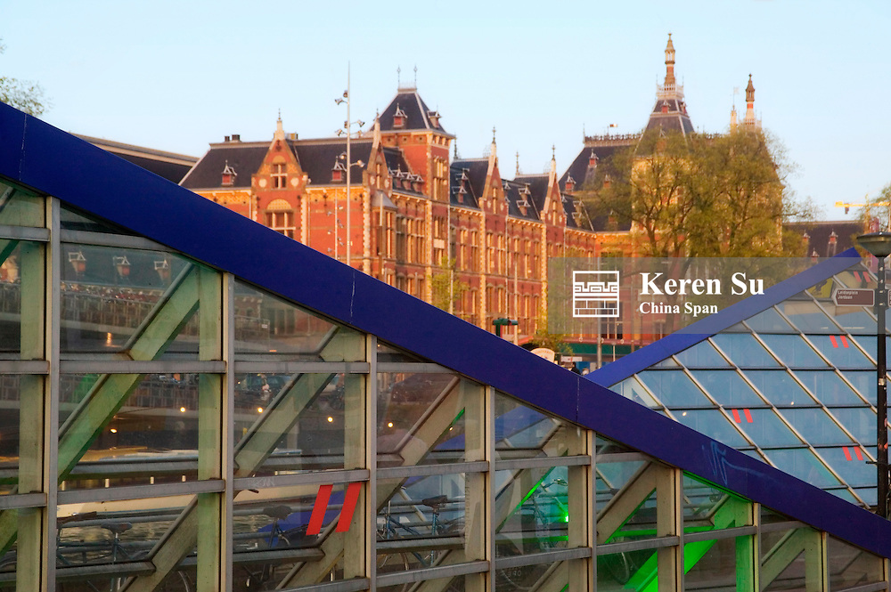Central Station by the canal, Amsterdam, Netherlands
