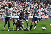 Johnny Russell comes off worse after a tangle with the bolton defence during the Sky Bet Championship match between Bolton Wanderers and Derby County at the Macron Stadium, Bolton, England on 8 August 2015. Photo by Mark Pollitt.
