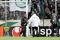 FOOTBALL - FRENCH LEAGUE CUP 2011/2012 - 1/8 FINAL - AS SAINT ETIENNE v OLYMPIQUE LYONNAIS - 26/10/2011 - PHOTO EDDY LEMAISTRE / DPPI -  SAINT ETIENNE FANS THROW PROJECTILES