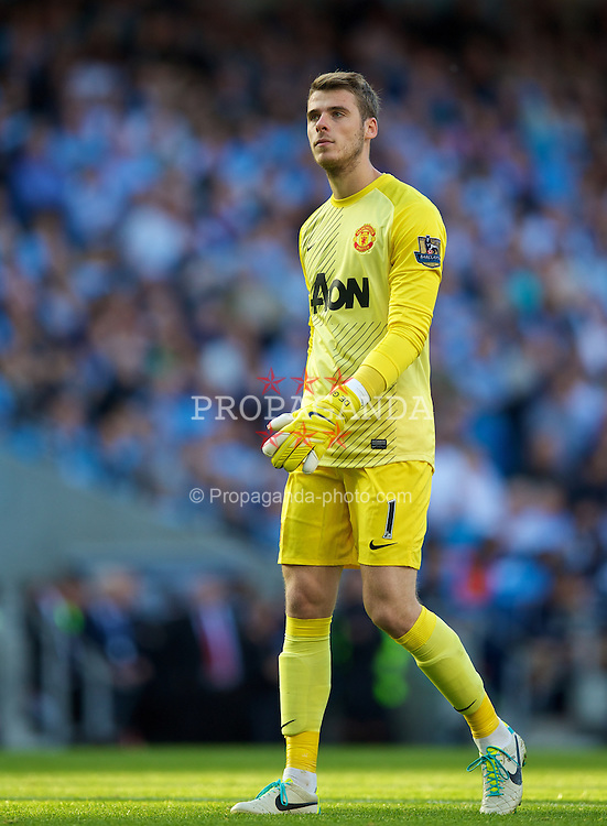 MANCHESTER, ENGLAND - Sunday, September 22, 2013: Manchester United's goalkeeper David de Gea in action against Manchester City during the Premiership match at the City of Manchester Stadium. (Pic by David Rawcliffe/Propaganda)