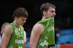 Jaka Klobucar of Slovenia and Zoran Dragic of Slovenia look dejected after the basketball match between Latvia and Slovenia at Day 8 in Round of 16 of FIBA Europe Eurobasket 2015, on September 12, 2015, in LOSC Lile stadium, Croatia. Photo by Marko Metlas / MN PRESS PHOTO / SPORTIDA
