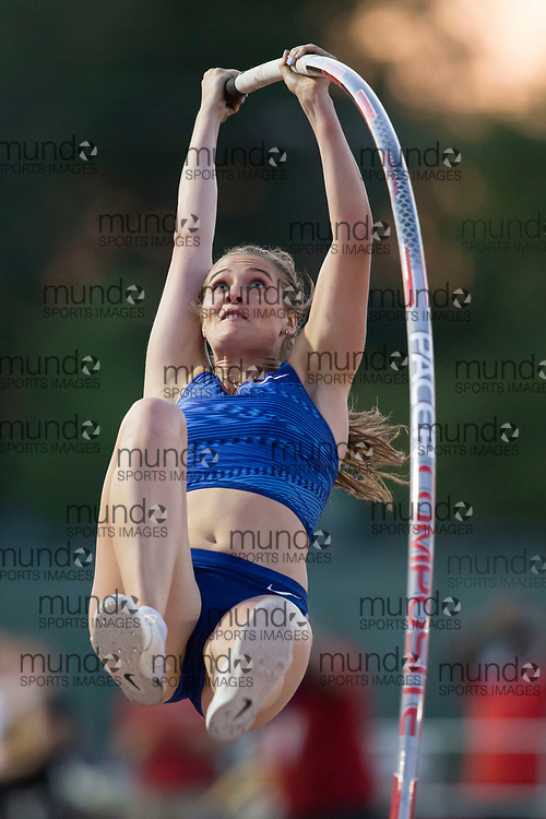 GUELPH, ON - JUNE 7: Alysha Newman jumping to a meet and new Canadian record of 4.76 metres in the pole vault at the 2019 Speed River Inferno Track and Field Festival held at Alumni Stadium at the University of Guelph in Guelph, Ontario. (Photo by Sean Burges/Icon Sportswire)