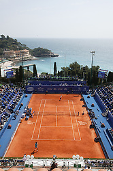 MONTE-CARLO, MONACO - Wednesday, April 16, 2003: General view from the press box of centre court at the Monte-Carlo Country Club during the 2nd Round of the Tennis Masters Monte-Carlo. (Pic by David Rawcliffe/Propaganda)