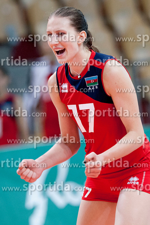 Polina Rahimova #17 of Azerbaijan during volleyball match between National Teams of Slovenia and Azerbaijan of 2014 CEV Volleyball European League Women - Pool A, on July 5, 2014, in Arena Ljudski vrt Lukna, Maribor, Slovenia, Slovenia. Photo by Urban Urbanc / Sportida
