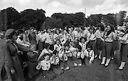 300 Girl Guides At Larch Hill.  (R84)..1988..25.07.1988..07.25.1988..25th July 1988..As part of the Diamond Jubilee celebrations the girl guide movement organised a friendship camp for 300 girls.The friendship camp was set up in the grounds of Larch Hill, Tibradden,Co Dublin. The camp will run from 23rd July to 30th July...Picture shows some of the Girl Guides who participated in the Friendship 88 camp as part of the Diamond Jubilee.