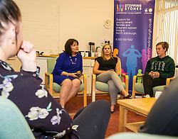 Pictured: Jeane Freeman met with parents to hear about the benefits of the Stepping Stones centre.<br /> Today social security minister Jeane Freeman MSP visited voluntary organisation  Stepping Stones (North Edinburgh), a group which helps young parent families and pregnant women, and met parents and children. The visit marked the introduction of the first Social Security (Scotland) Bill.<br /> Ger Harley | EEm 21 June  2017