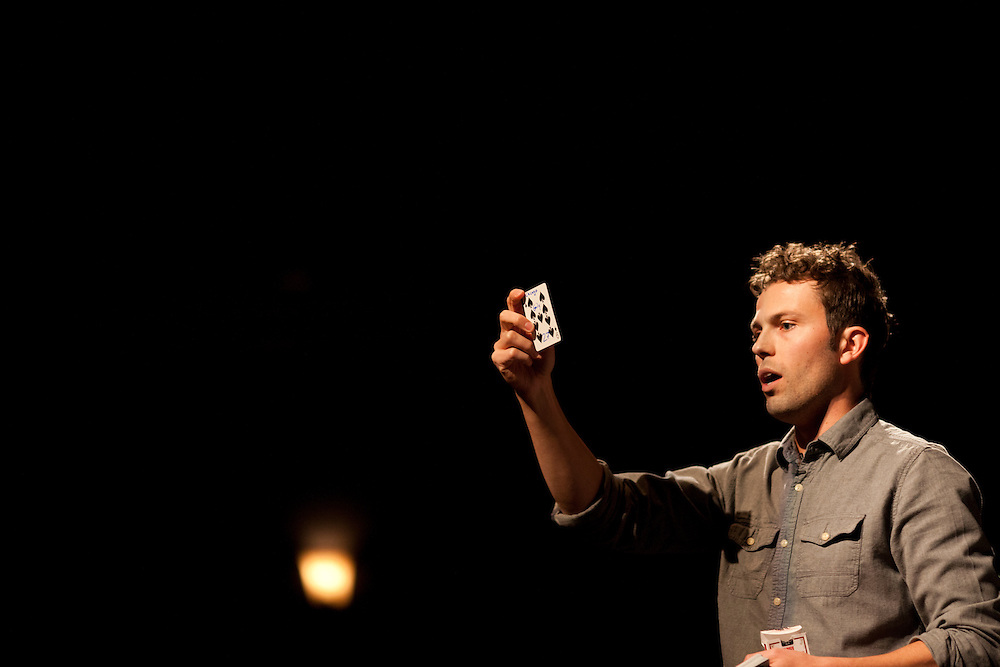 Iowa magician Nate Staniforth performs magic tricks before discussing his approach to performing in front of an audience at The Englert Theater in Iowa City, Iowa on Friday, November 6, 2015 during the Witching Hour Festival. Staniforth says he is curious about the power, fear and joy magic creates in other people.
