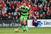 Forest Green Rovers Paul Digby(20) on the ball during the EFL Sky Bet League 2 match between Lincoln City and Forest Green Rovers at Sincil Bank, Lincoln, United Kingdom on 3 November 2018.