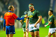 French referee Romain Poite speaks to Thomas du Toit (#17) (Cell C Sharks) of South Africa during the Autumn Test match between Scotland and South Africa at the BT Murrayfield Stadium, Edinburgh, Scotland on 17 November 2018.