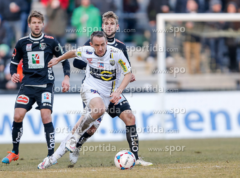 28.02.2015, Cashpoint Arena, Altach, AUT, 1. FBL, SCR Altach vs RZ Pellets WAC, 22. Runde, im Bild v.l. Boris Huettenbrenner, (RZ Pellets WAC, #16), Johannes Aigner, (SCR Altach, #25) und Manuel Weber, (RZ Pellets WAC, #06)// during Austrian Football Bundesliga Match, 22th round, between SCR Altach vs RZ Pellets WAC at the Cashpoint Arena, Altach, Austria on 2015/02/28. EXPA Pictures © 2015, PhotoCredit: EXPA/ Peter Rinderer