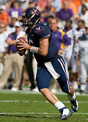 Virginia quarterback Marc Verica (6) rolls out of the pocket in action against ECU.  The Virginia Cavaliers defeated the East Carolina Pirates 35-20 in NCAA football at Scott Stadium on the Grounds of the University of Virginia in Charlottesville, VA on October 11, 2008.