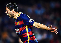 BARCELONA, SPAIN - OCTOBER 25:  (EDITORS NOTE: This image has been processed using digitals filters.)  Luis Suarez of Barcelona celebrates scoring his team's second goal during the La Liga match between FC Barcelona and SD Eibar at Camp Nou Stadium on October 25, 2015 in Barcelona, Spain.  (Photo by Manuel Queimadelos Alonso/Getty Images)