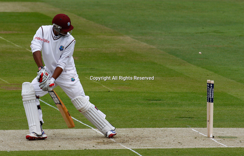 17.05.12 Lords,London, ENGLAND: <br /> Kieran Powell of West Indies gets bowled by James Anderson of England during the Investec First Test ( 1st Day of 5 )<br /> between England and West Indies