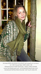 Actress MISS GEORGIE RYLANCE at a party in London on 13th November 2001.		OUE 118