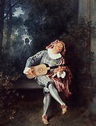 The Musician' c1718. Oil on canvas. Jean-Antoine Watteau (1684-1721) French painter.  Man sitting on stone bench in wooded garden, singing and playing a lute.   Fashion Male Stocking Breeches Shoe Cloak Ruff Fabric Satin Velvet