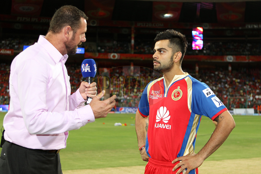 Virat Kohli captain of the Royal Challengers Bangalore interviewed before the toss during match 24 of the Pepsi Indian Premier League Season 2014 between the Royal Challengers Bangalore and the Sunrisers Hyderabad held at the M. Chinnaswamy Stadium, Bangalore, India on the 4th May  2014<br /> <br /> Photo by Ron Gaunt / IPL / SPORTZPICS<br /> <br /> <br /> <br /> Image use subject to terms and conditions which can be found here:  http://sportzpics.photoshelter.com/gallery/Pepsi-IPL-Image-terms-and-conditions/G00004VW1IVJ.gB0/C0000TScjhBM6ikg