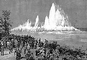 Blowing up Flood Rock, part of the Hell Gate Rocks complex which prevented large vessels reaching New York Harbour, and presented a hazard to smaller ones. Dynamite was the explosive used. From 'The Illustrated London News', October 1885. Wood engraving.