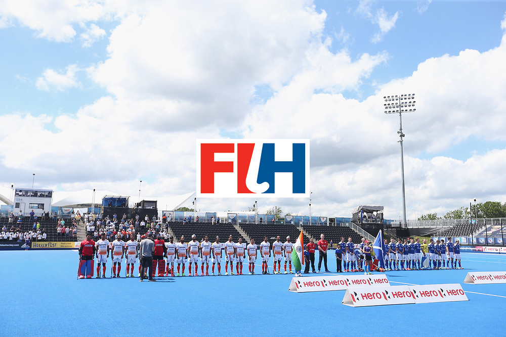 LONDON, ENGLAND - JUNE 15: Teams line up prior to the Hero Hockey World League Semi Final match between India and Scotland at Lee Valley Hockey and Tennis Centre on June 15, 2017 in London, England.  (Photo by Alex Morton/Getty Images)