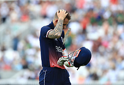 Alex Hales leaves the field after being caught out during the ICC Champions Trophy, Group A match at The Oval, London.