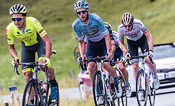 12.07.2019, Kitzbühel, AUT, Ö-Tour, Österreich Radrundfahrt, 6. Etappe, von Kitzbühel nach Kitzbüheler Horn (116,7 km), im Bild v.l.: Lukas Spengler (Wallonie Bruxelles, CHE), Alexis Guerin (Delko Marseille Provence, FRA), Connor Swift (Arkea Samsic, GBR) // during 6th stage from Kitzbühel to Kitzbüheler Horn (116,7 km) of the 2019 Tour of Austria. Kitzbühel, Austria on 2019/07/12. EXPA Pictures © 2019, PhotoCredit: EXPA/ JFK