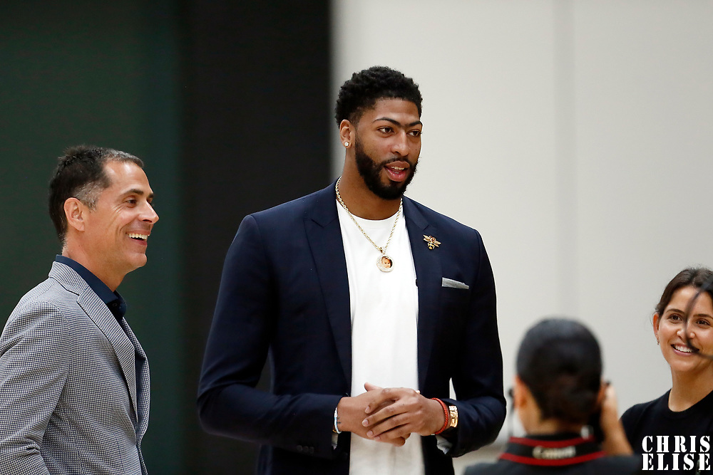 EL SEGUNDO, CA - JUL 13: General Manager Rob Pelinka is seen next to Anthony Davis during a press conference on July 13, 2019 at the UCLA Health Training Center, in El Segundo, California.